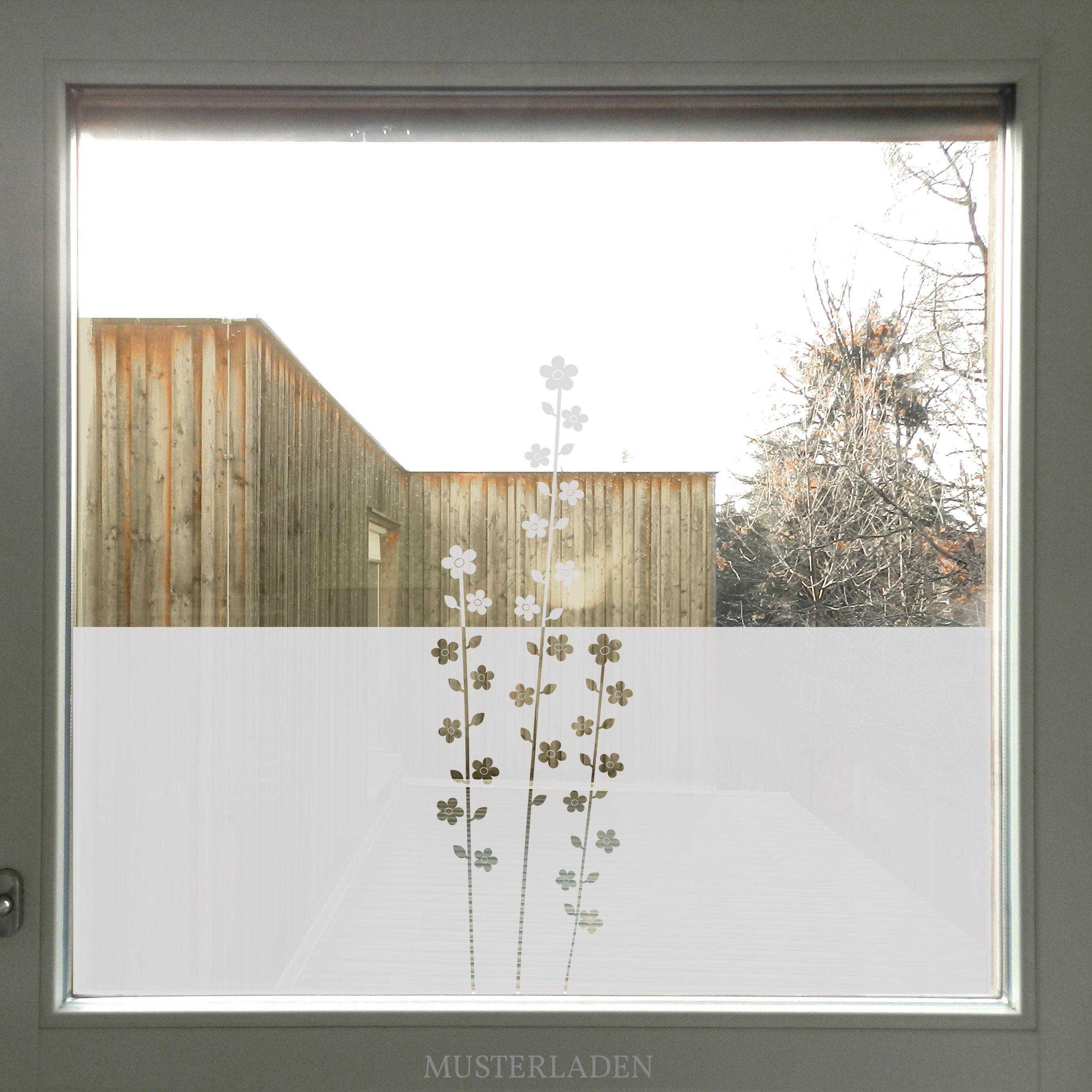 Milchglasfolie Fenster Mit Blumen Glasdekorfolie Sichtschutz Floral Fensterfolie Sichtschutz
