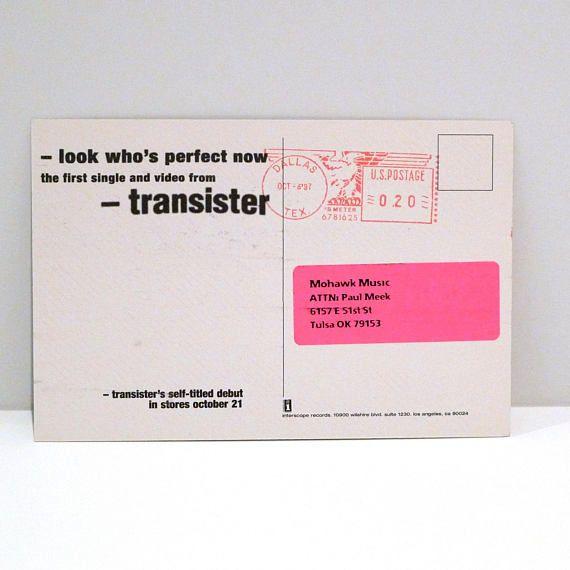 Transister Postcard Vintage Band 1997 Interscope Label Sent