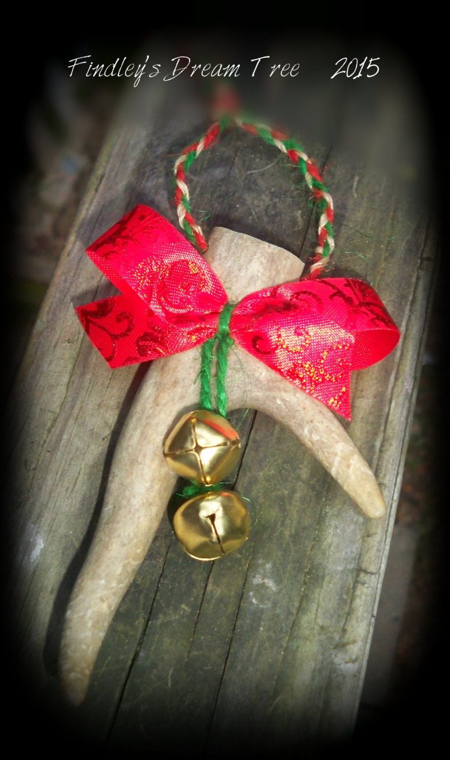 REAL deer antler Christmas ornament..country Christmas...rustic Christmas by FindleysDreamTree on Etsy