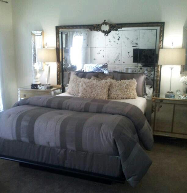 Mirrored Headboard | Mirror headboard, Home bedroom, Glam ...
