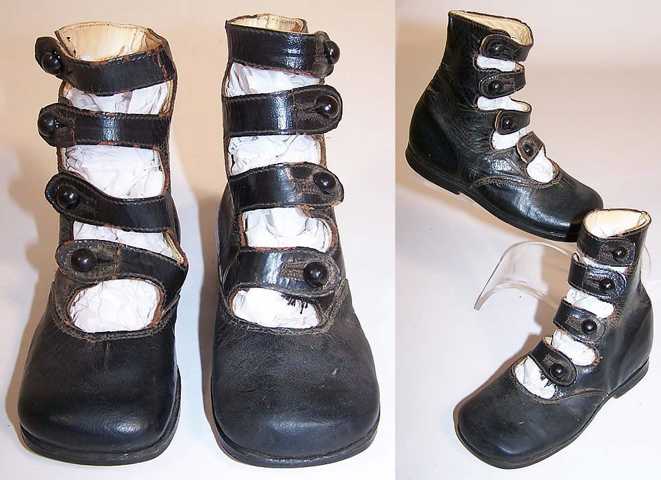 This pair of antique Victorian era black leather high top 4 button strap  baby boots child's