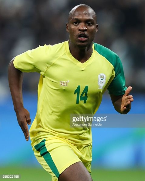 #RIO2016 Gift Moputa South Africa celebrates their first goal during the match between South Africa and Iraq mens football for the Olympic Games Rio 2016...