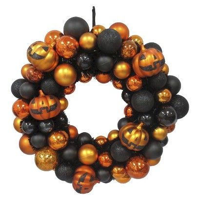 shatterproof halloween jack o lantern wreath target - Target Halloween Decorations