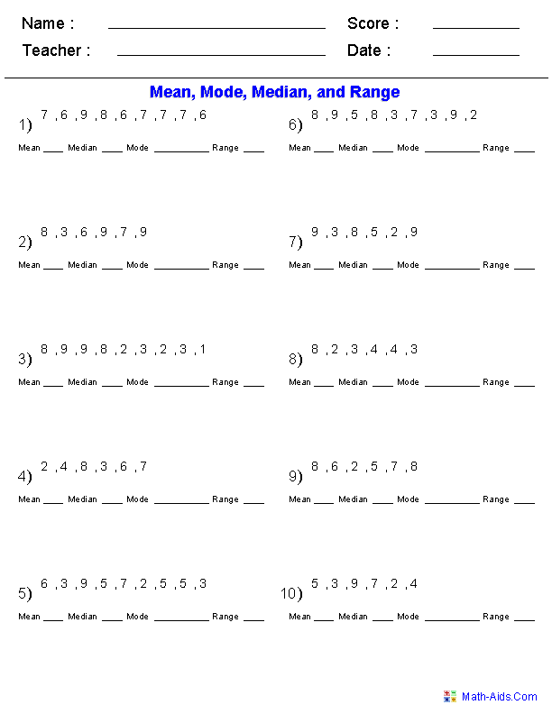 Printable Worksheets finding the mean median and mode worksheets : Mean Mode Median Worksheets | Mean Mode Median and Range ...