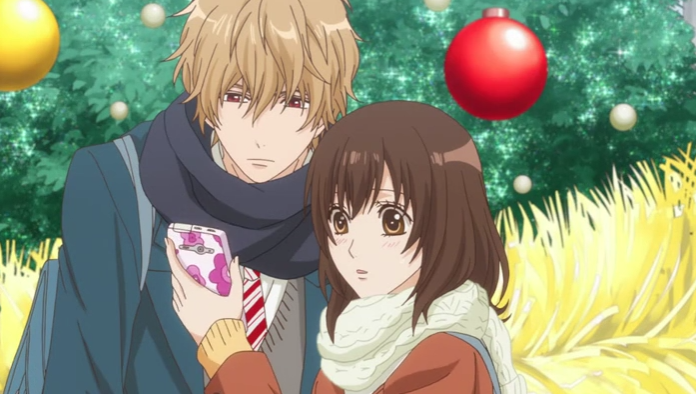 """This is from the anime """"Ookami Shoujo to Kuro Ouji."""" The couple in the picture is Kyouya Sata and Erika Shinohara."""