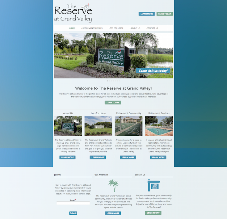 The Reserve At Grand Valley Is A Retirement Community In New Port Richey Fl Serving 55 Plus Individuals Seeking A Grand Valley Showcase Design Website Design