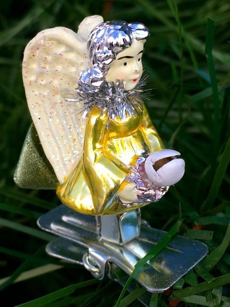 Christmas Tree Ornament SMALL ANGEL CHILD~CLIP ON~CERAMIC GLASS-MINT