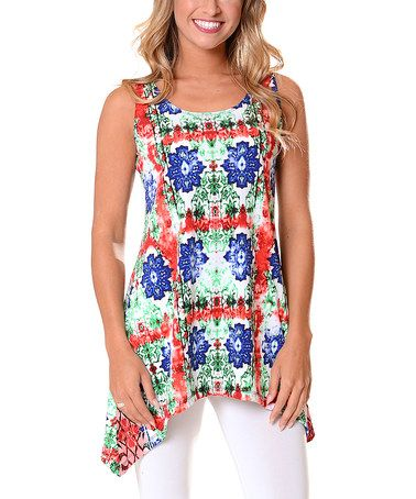 90a06baf377 Love this White   Blue Floral Sleeveless Sidetail Tunic by Lbisse on ...