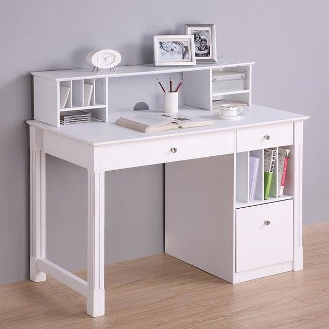 unique white computer desk with fantastic bookshelf and cool shelves also beautiful accessories idea and purple