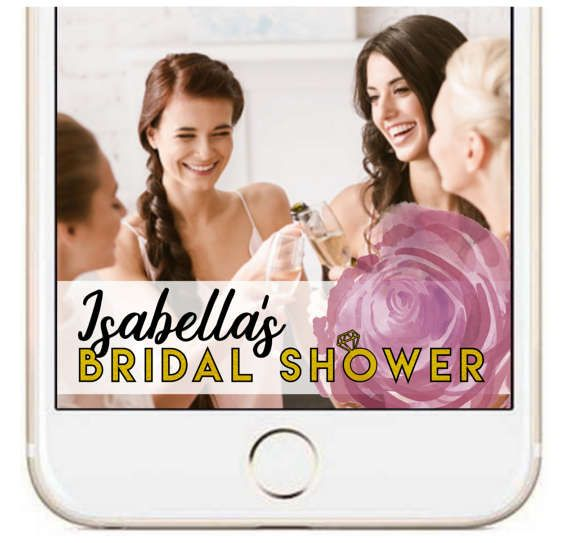 Roses and Rings Bridal Shower Custom Snapchat Filter