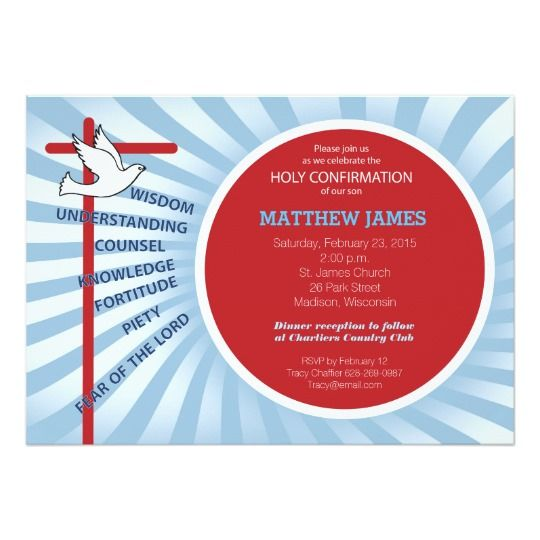 Confirmation invitation red blue rays pinterest confirmation confirmation invitation red blue rays stopboris Gallery