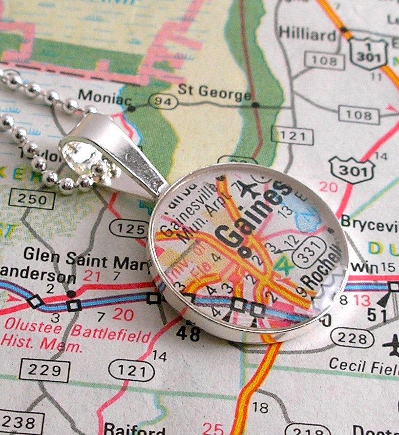 Map Of University Of Florida.University Of Florida Vintage Map Necklace From Dlk Designs Found