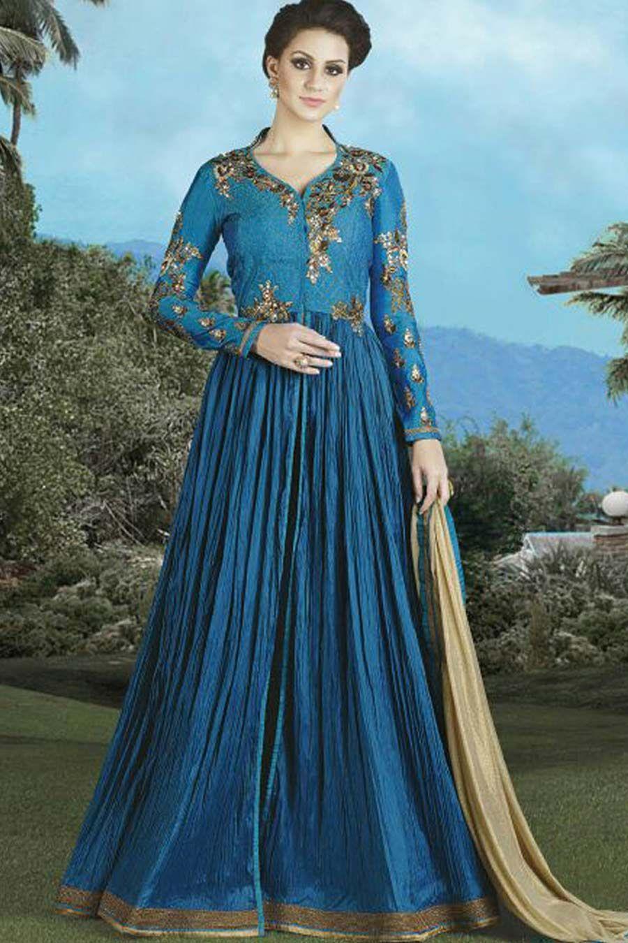 Teal & Beige Silk Semi Stitch Anarkali Suit | Anarkali Suits ...