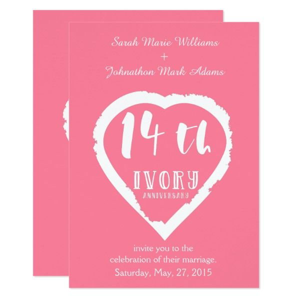 14th Wedding Anniversary Traditional Ivory Invitation Zazzle Com