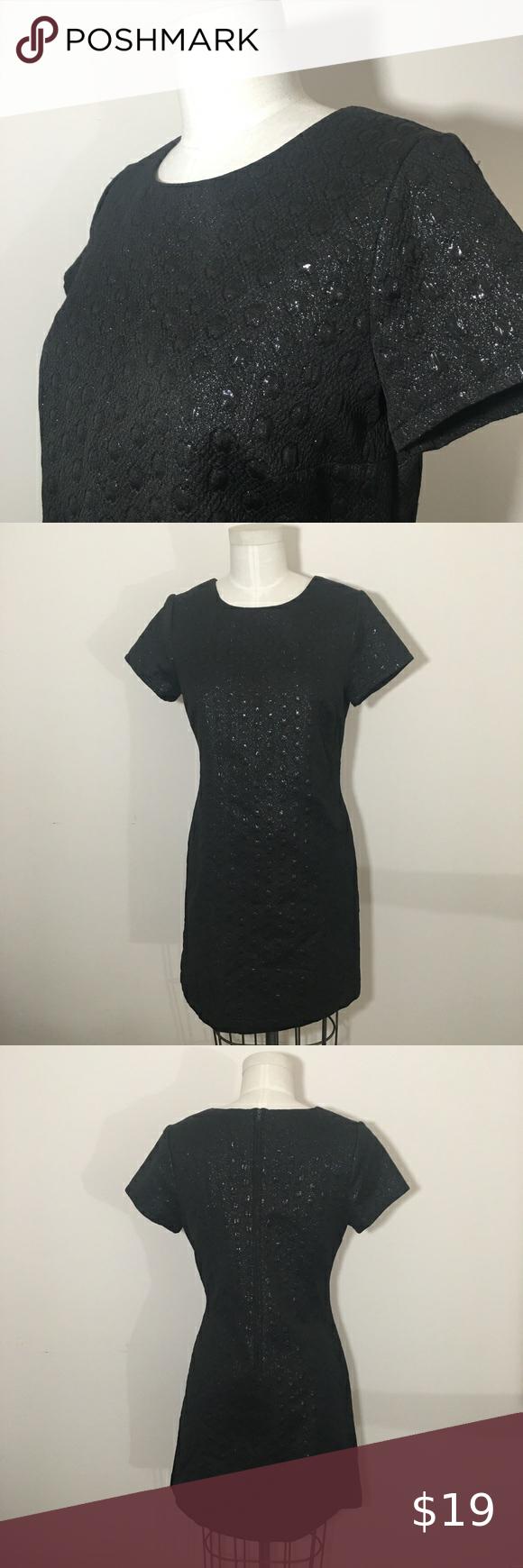 Xhilaration Target Juniors Black Dress Lg Gorgeous Textured Little Black Dress Short Sleeves Back Zipper Black Lurex Black Dress Black Short Dress Dresses [ 1740 x 580 Pixel ]