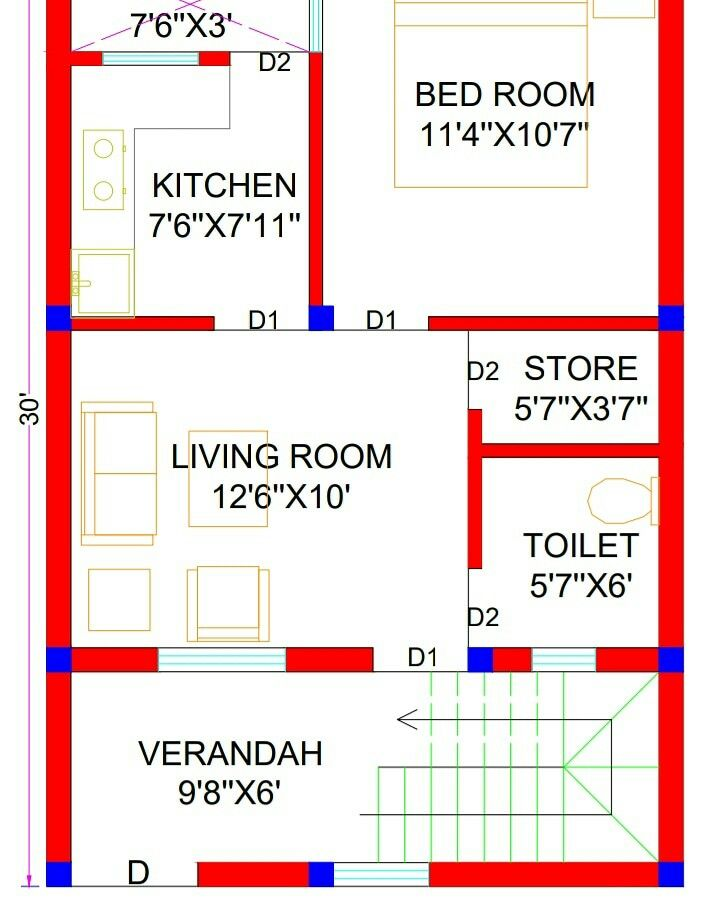 20x30 House Plans 20x30 North facing House Plans 600 sq ft House Plan 600 sq ft House