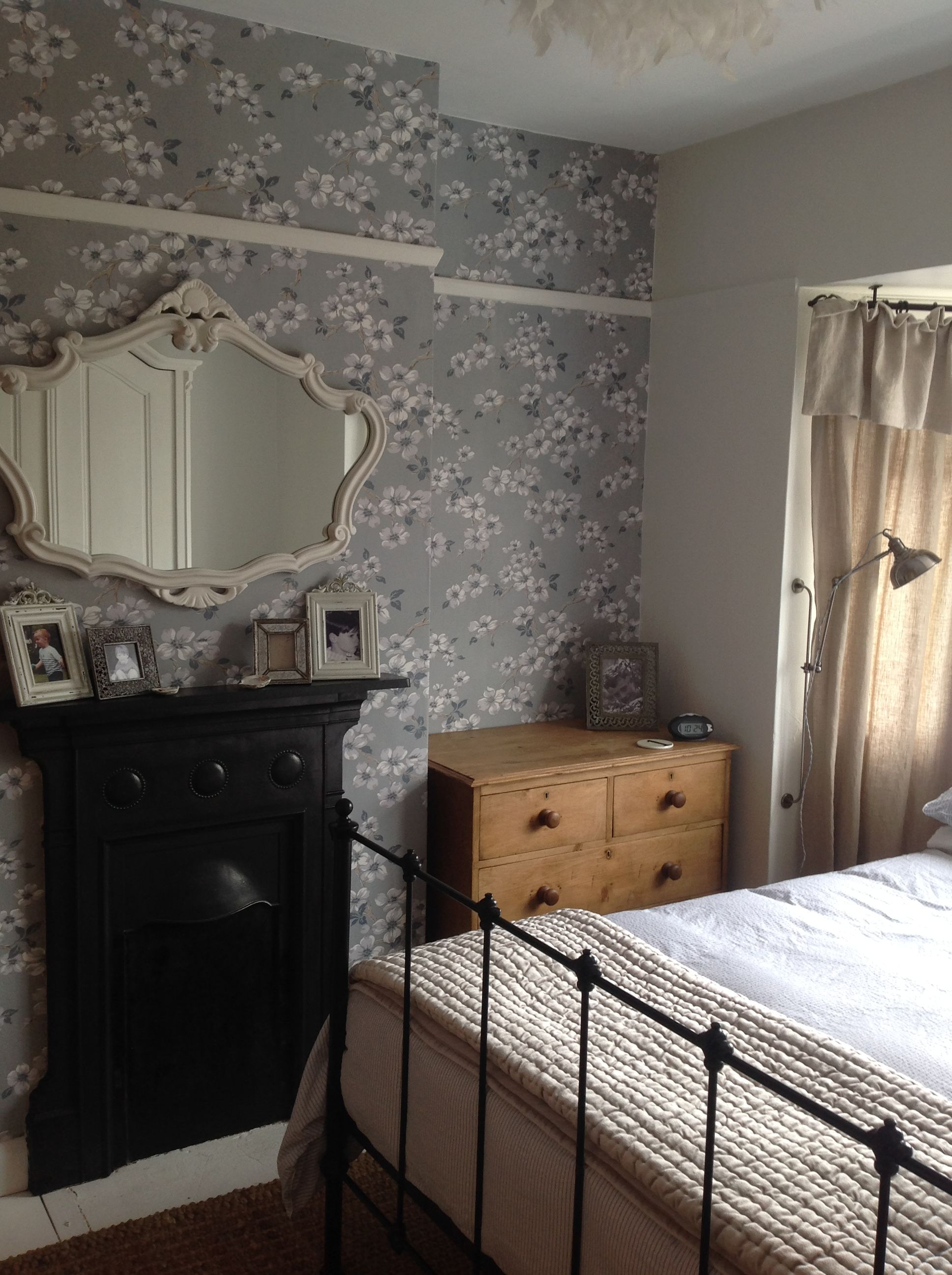 Bedroom Progressing Laura Ashley Iona Wallpaper In Slate