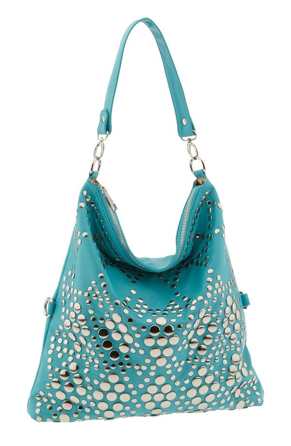 Teal multi-studded hobo bag | Clothing - Purses | Pinterest | Hobo ...