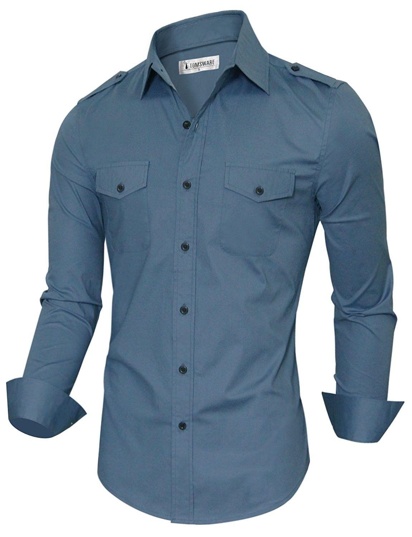 653b2186128 Tom s Ware Mens Stylish Slim Fit Plain Button Down Dress Shirts ...