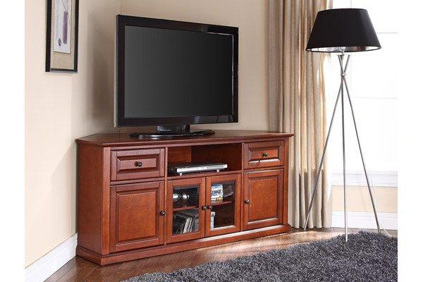 "Crosley Furniture Alexandria 60"" Classic Cherry Corner TV Stand - CF1000260-CH | The Simple Stores"