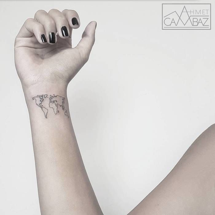 35 best world map tattoo ideas for travel lovers pinterest map minimalist world map tattoo by ahmet cambaz gumiabroncs Choice Image