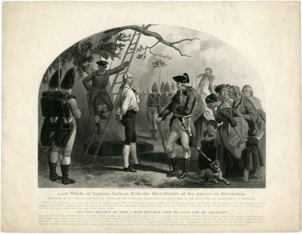 June 6 1755 Birthday Of Nathan Hale Last Words Of Captain Nathan Hale Purportedly I Only Regret That American Revolution Nathan Hale Connecticut History