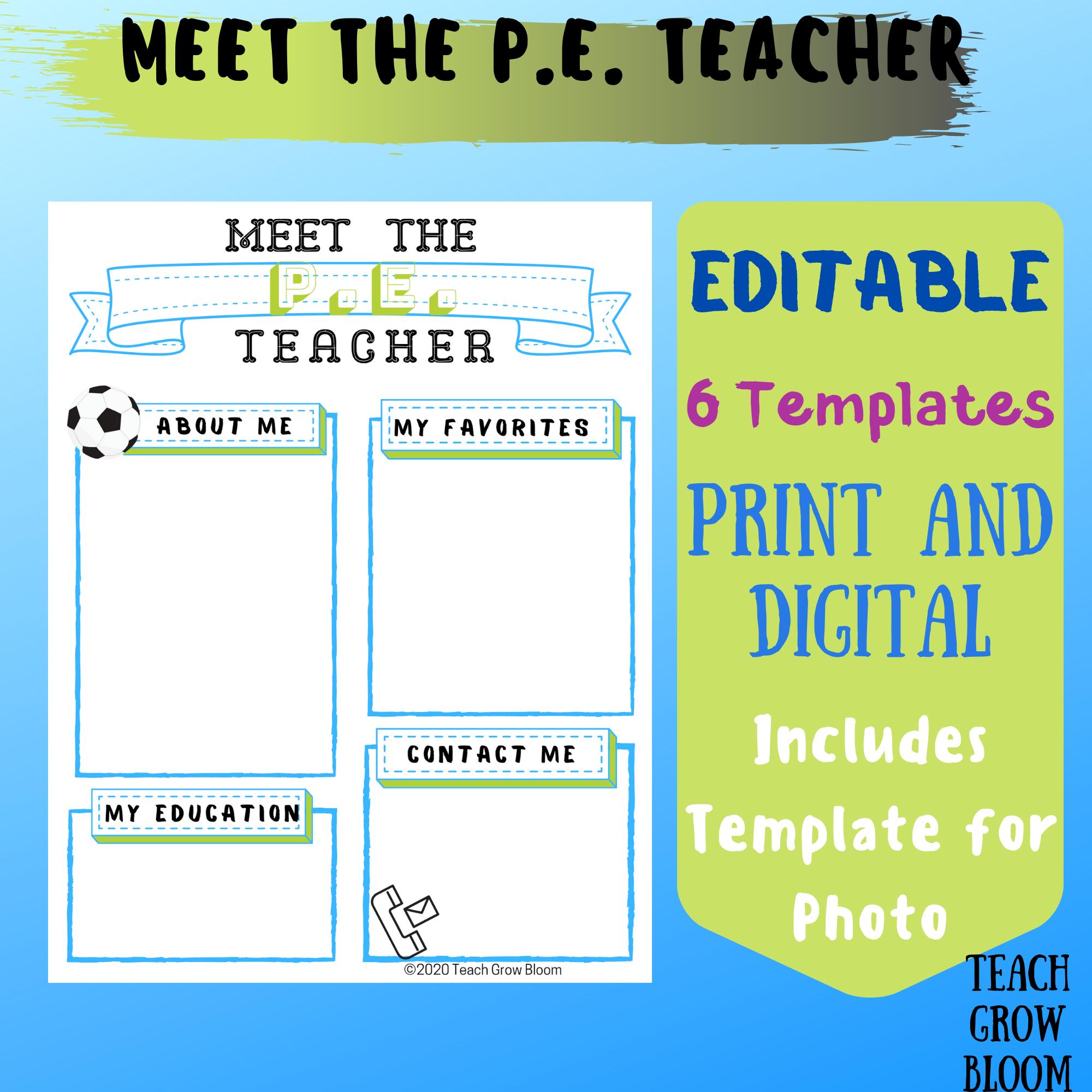 Meet The P E Teacher Letter Letter To Teacher Teacher Templates Teacher