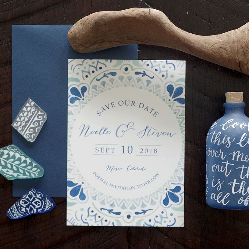 Noelle Painted Pattern Wedding Save The Date