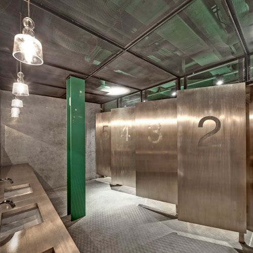Industrial commercial bathroom google search for Bathroom design restaurant
