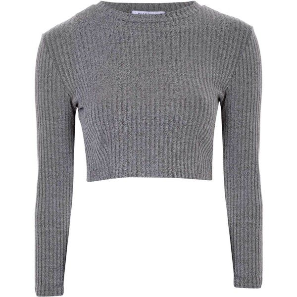 Grey Ribbed High Neck Crop Top ( 25) ❤ liked on Polyvore featuring tops b5be7cc7a