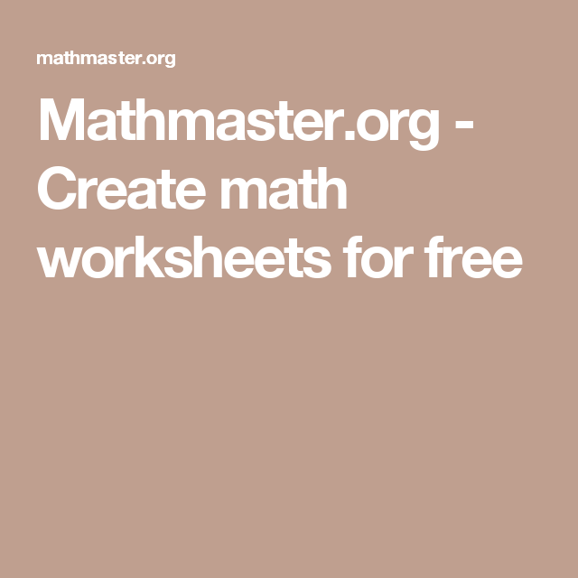 Create Math Worksheets For Free Math Worksheets Math Worksheets