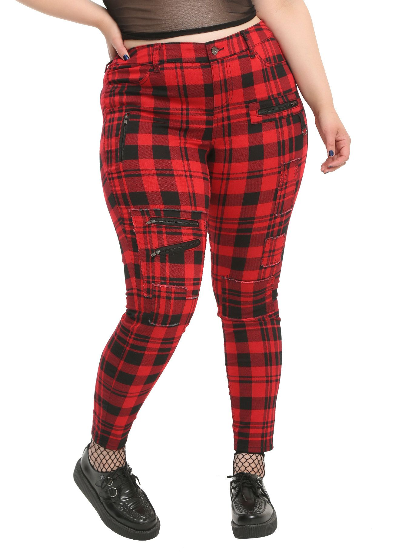 084e039377a Blackheart Red   Black Plaid Super Skinny Pants Plus Size ...