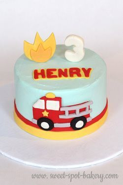 Fire truck birthday cake Toddler boy cake Little Ones