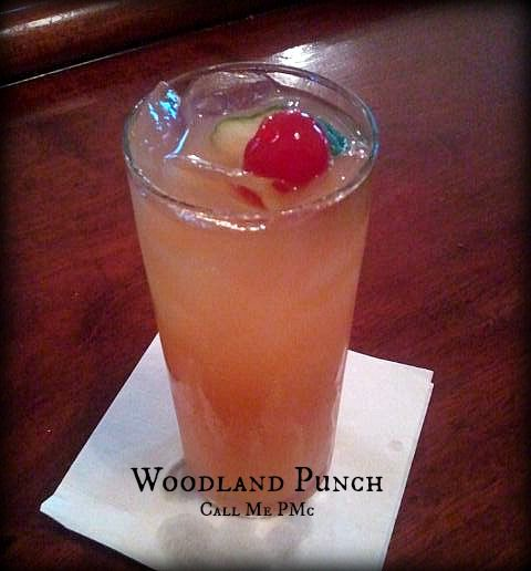 Woodland Punch 1 1/2 oz Southern Comfort 3 oz Pineapple juice 1 oz Club Soda 1//2 oz Cherry juice Garnish lime and cherry Instructions  Add Southern Comfort, pineapple juice, and cherry juice to a shaker. Shake until combined. Pour over ice in a Collins glass. Top with club soda. Garnish with lime slice and cherry.