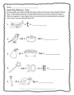 Daycare Worksheets Word The Puzzle Den  Free Earth Day Rebuses Easy  The Puzzle Den  Problem Solving Worksheet with Rounding Decimals Worksheets Excel The Puzzle Den  Free Earth Day Rebuses Easy First Grade Measurement Worksheets Excel
