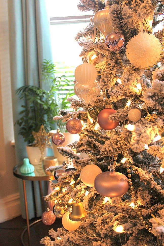 The Obligatory Christmas Tree Pictures  in blush pink, gold and white   Swoon
