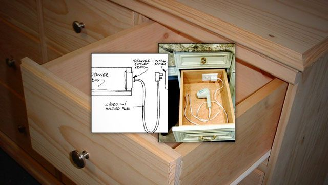 Install An Outlet In A Drawer For Convenient Gadget Charging Blow Drying And More Bathroom Organization Diy Trendy Bathroom Drawers