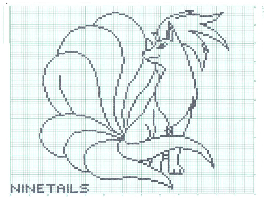 Ninetails Graph Paper Ver By Flamingsalad On Deviantart Graph Paper Art Graph Paper Paper Art