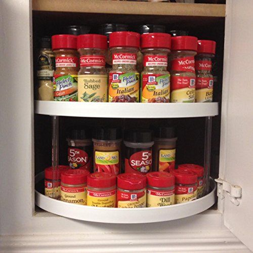 Kitchen Cabinet Storage Organizer 2 Tier Turntable White D