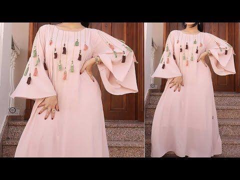 طريقة تفصيل بدعية رائعة وسهلة باكمام واسعة Youtube Long Sleeve Dress Dresses With Sleeves Dresses