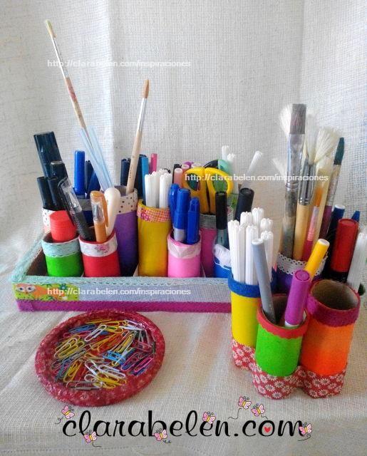 ff150f867 Como hacer un organizador con tubos cartón y globos | Manualidades ...