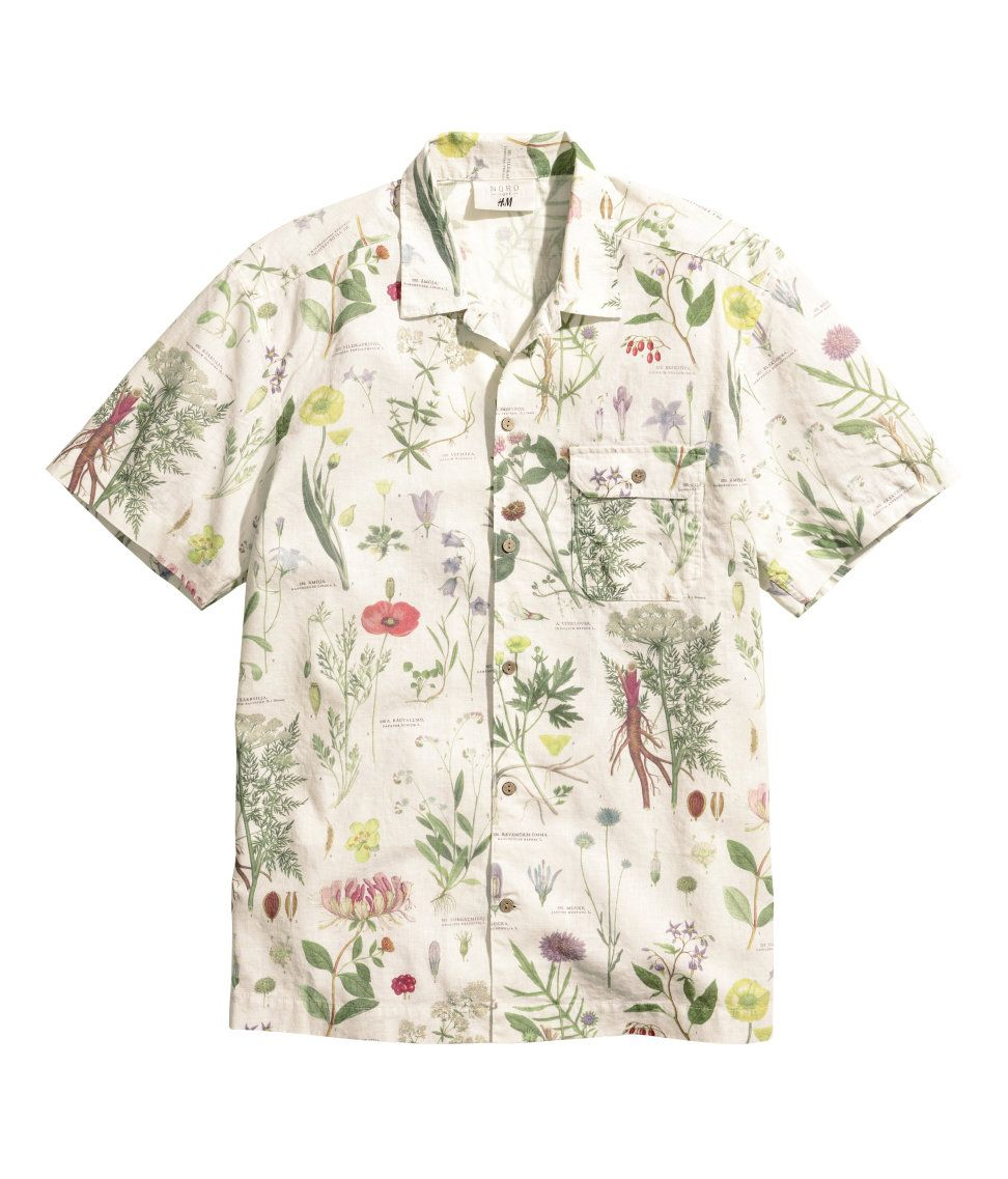 f23c2e76 H&M Linen Blend Floral Printed Shirt | Men's Shirts | Shirts, Mens ...