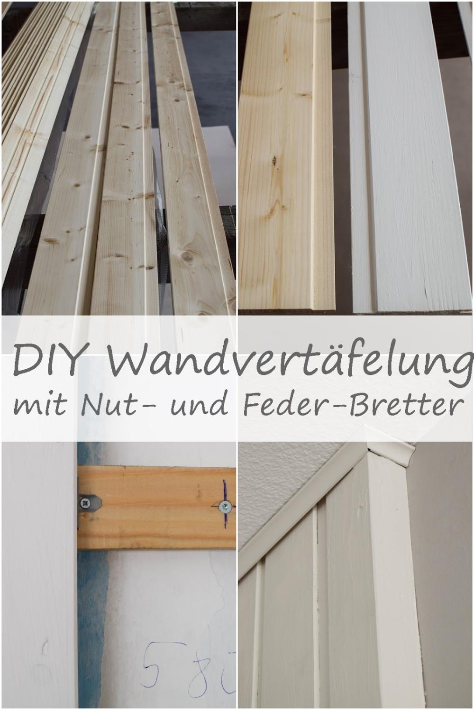 Wandverkleidung DIY aus Holz mit Nut und Federbretter