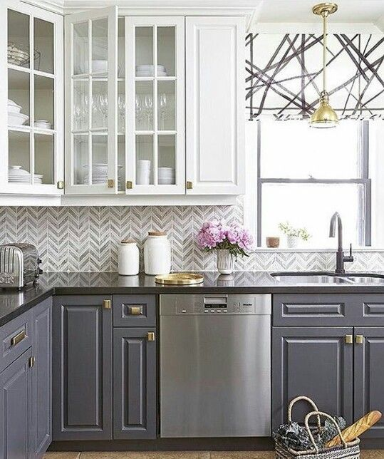 Grey Bottom Cabinets White Top Kitchen Design Kitchen Cabinets Makeover Home Kitchens