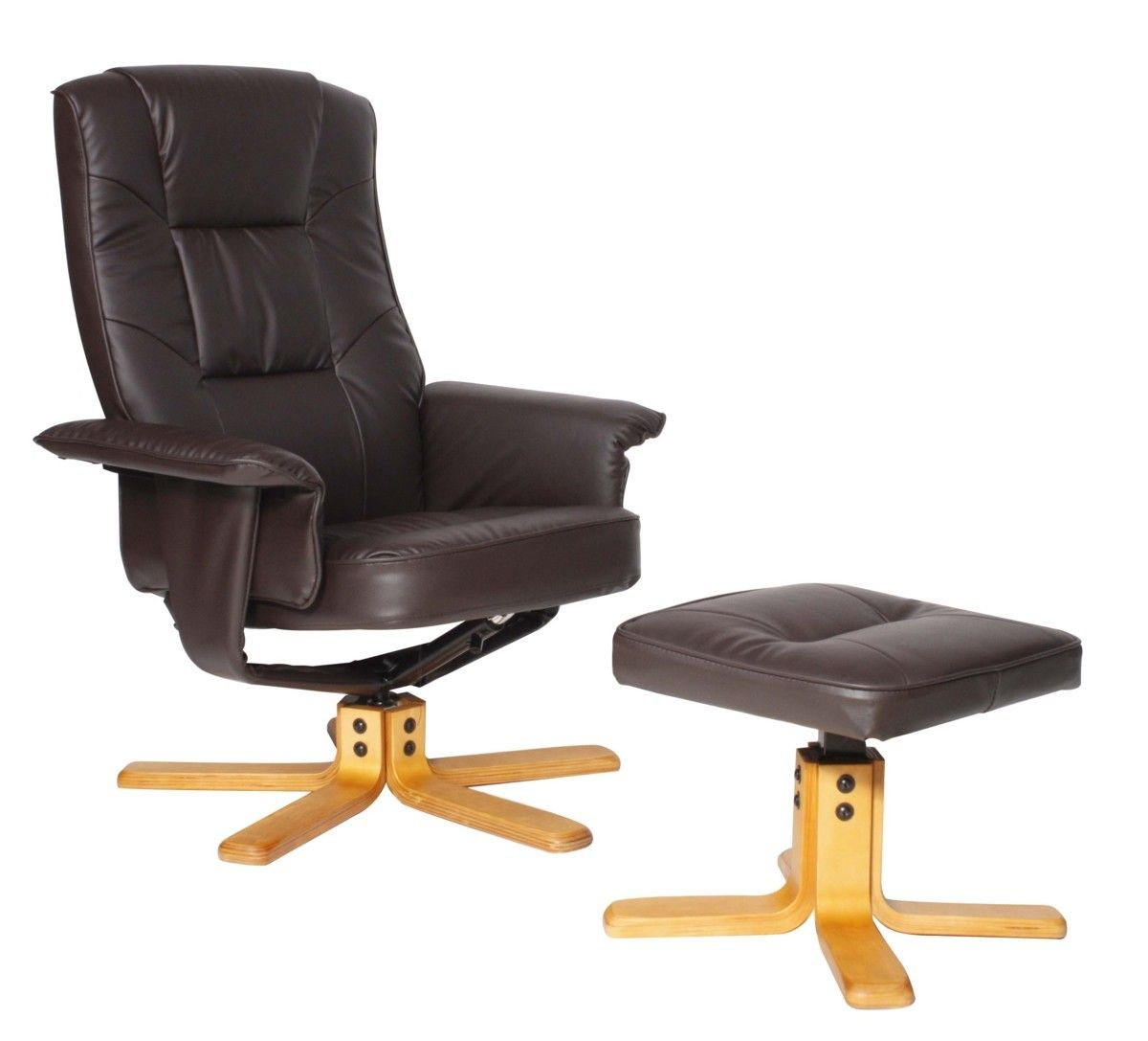 Premium Brown Recliner With Footstool Set Brown Recliner Faux Leather Chair Contemporary Recliners