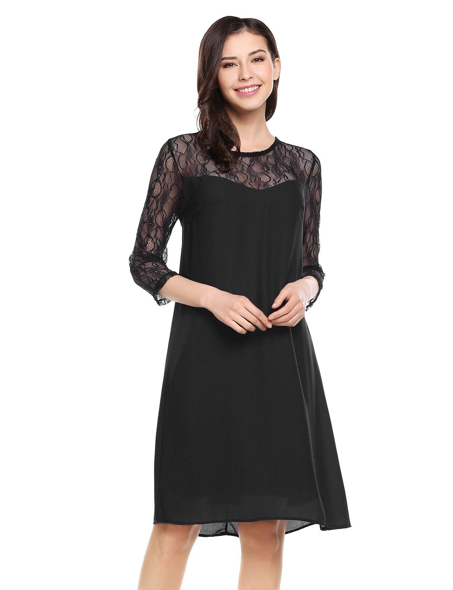 Chiffon sleeve black shift dress