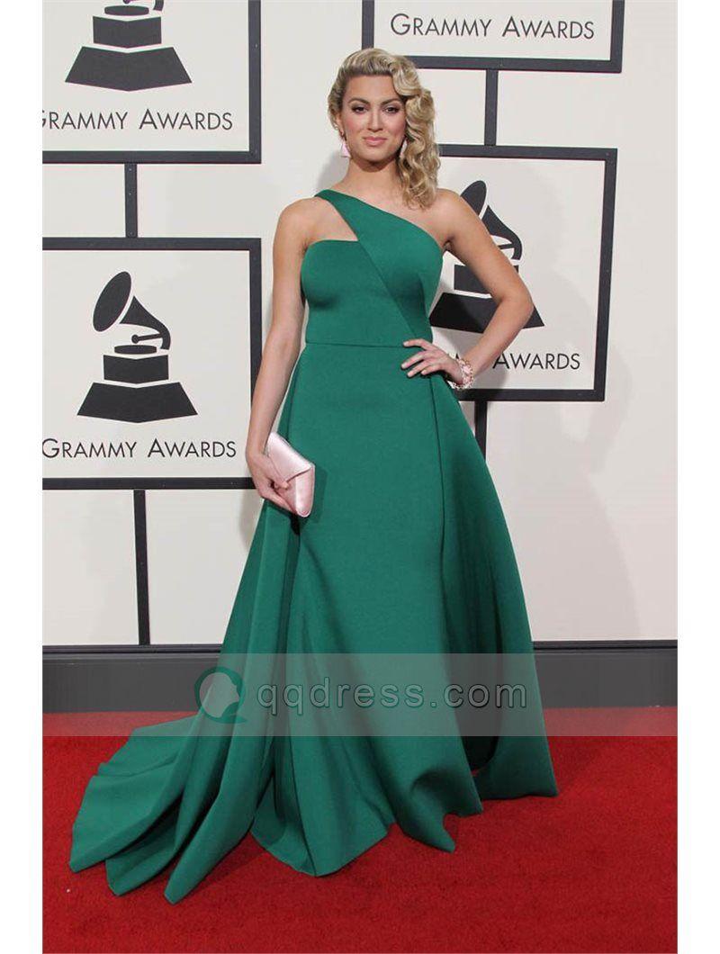 One Shoulder Satin Celebrity Red Carpet Dress Long Prom Dress - Tori ...