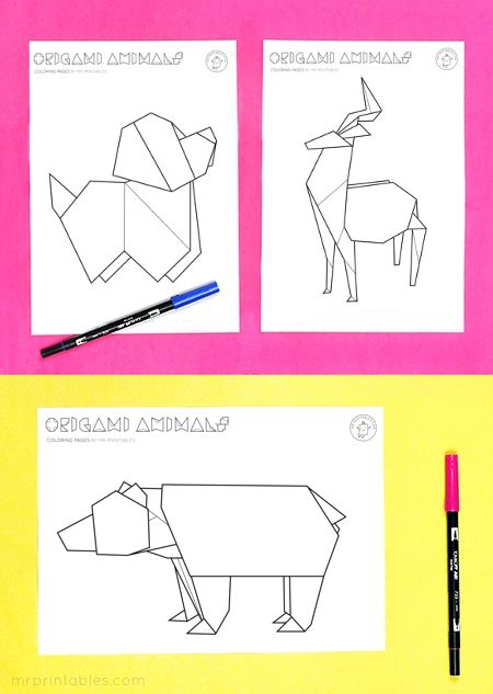 Origami animal coloring pages | PAPER CRAFTS | Pinterest ...