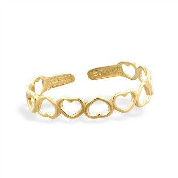 14K solid gold hollow heart toe ring Toe Rings Pinterest
