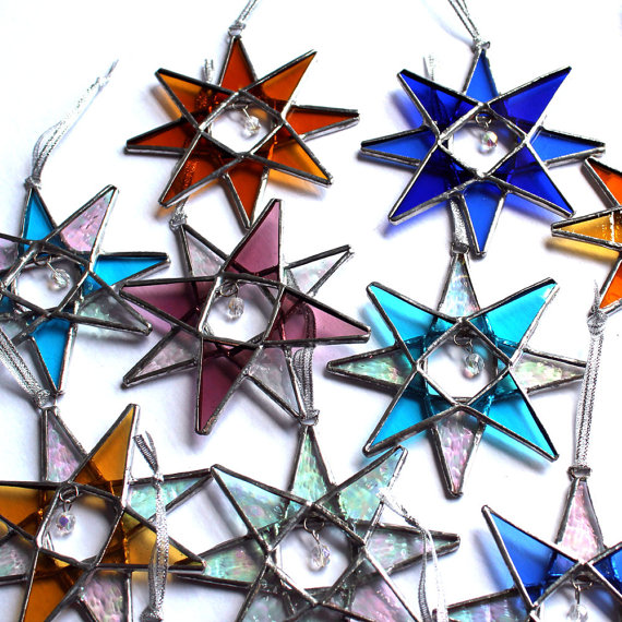 10 Stained Glass Crystal Stars  Wedding Decor and gifts by LAGlass, $100.00